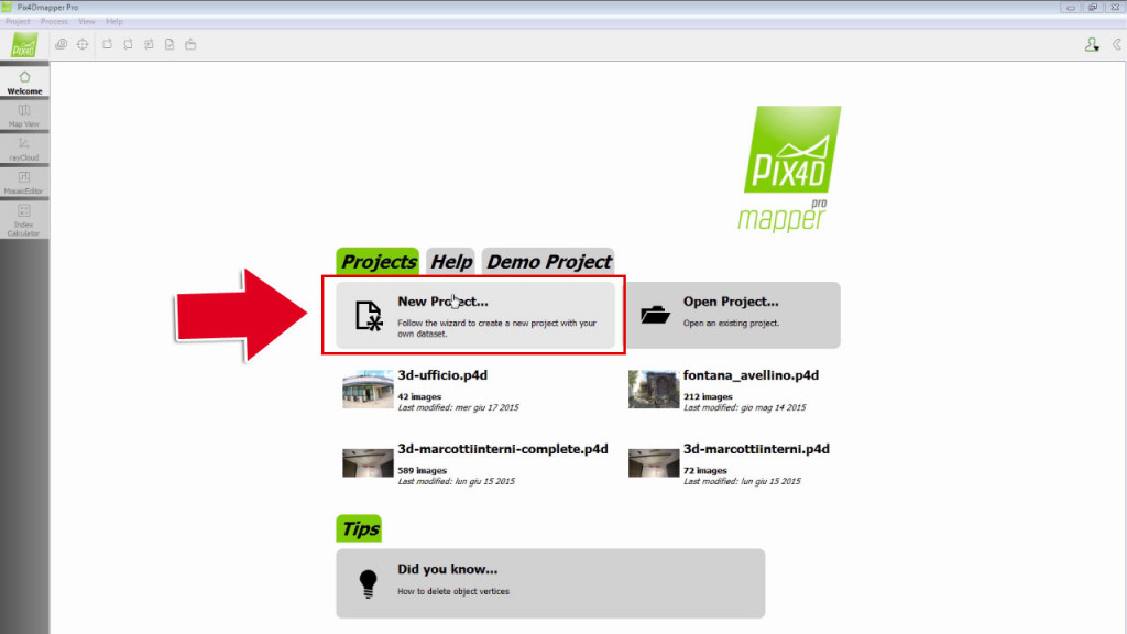 Start Pix4Dmapper and select NEW PROJECT to start a new Project