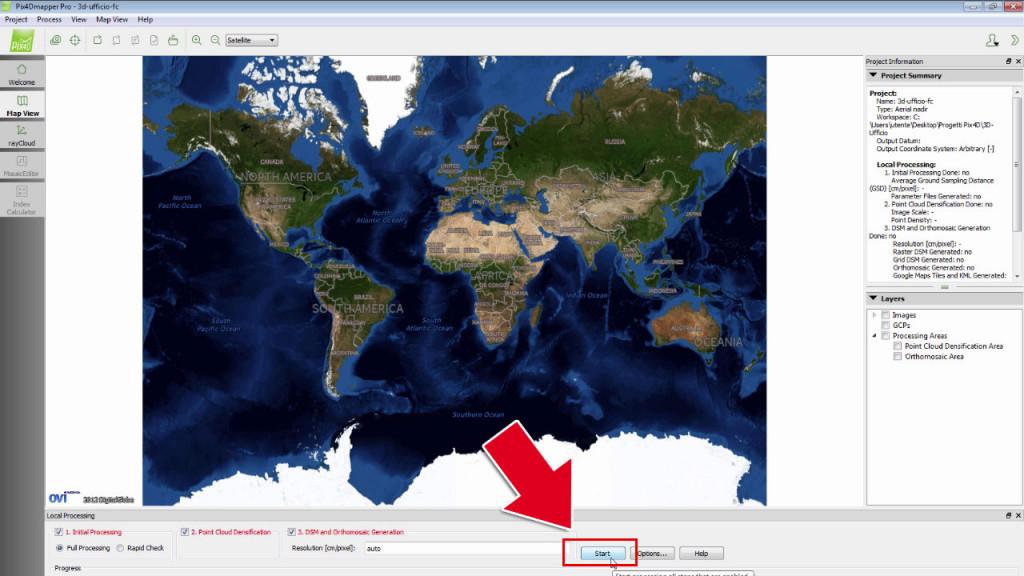 Avvia l'elaborazione di Pix4Dmapper